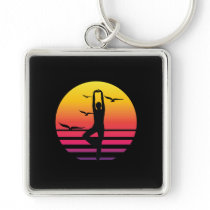 yoga retro sunset, #yoga keychain