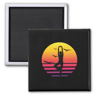 yoga retro sunset, #yoga magnet
