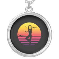 yoga retro sunset, #yoga silver plated necklace