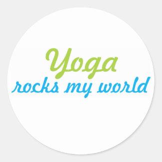 Yoga rocks my world classic round sticker