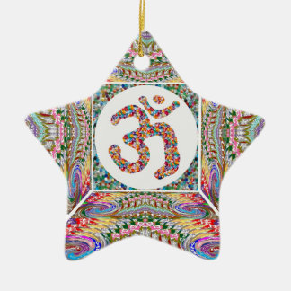 YOGA Room and OM Mantra at Back n Center Ceramic Ornament