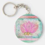 Yoga rosada de Namaste del flor de Lotus Llavero Redondo Tipo Pin
