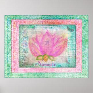 Yoga rosada de Namaste del flor de Lotus Póster