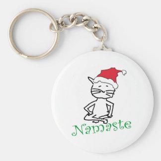 Yoga Santa Cat Gifts Basic Round Button Keychain