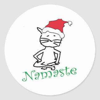 Yoga Santa Cat Gifts Round Sticker