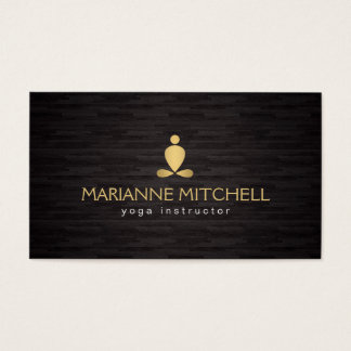 Yoga serena, meditación, fondo de madera del zen tarjetas de visita