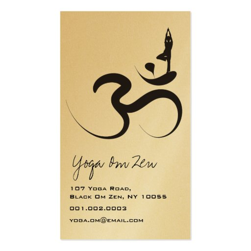 Yoga Silhouette Black Logo Symbol Om Ohm Zen Business Card Template