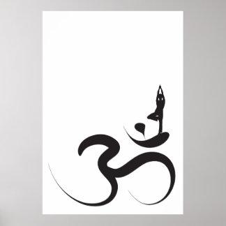 Yoga Silhouette Black Logo Symbol Om Ohm Zen Poster
