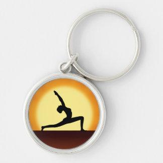Yoga Silhouette Sunrise Premium Round  Key Chain