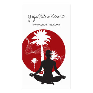 Yoga Silhouette Tropical Zen Resort Palm Trees Sun Business Card