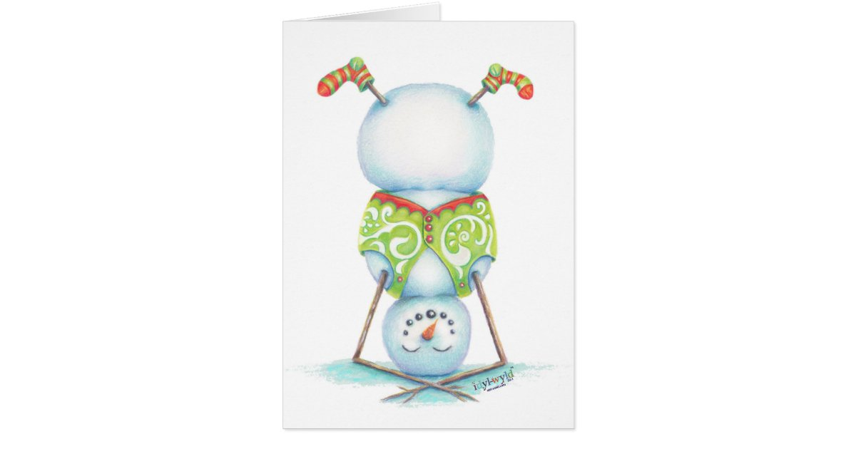 Yoga Snowman Christmas Card Scandinavian Flair Card