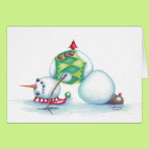 yoga snowman christmas card/ scandinavian flair card