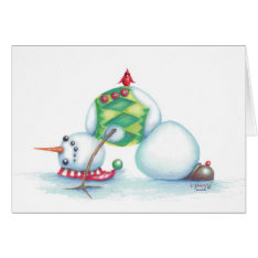 Yoga Snowman Christmas Card/ Scandinavian Flair Card at Zazzle