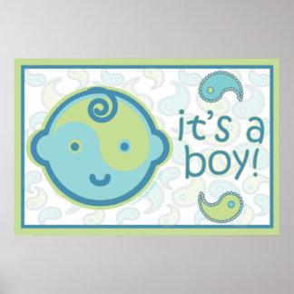 Yoga Speak Baby : It's A Boy! Announcement Poster