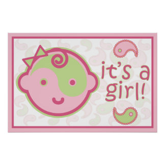 Yoga Speak Baby : It's A Girl! Announcement Poster