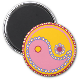 Yoga Speak Baby : Paisley Yin-Yang 2 Inch Round Magnet