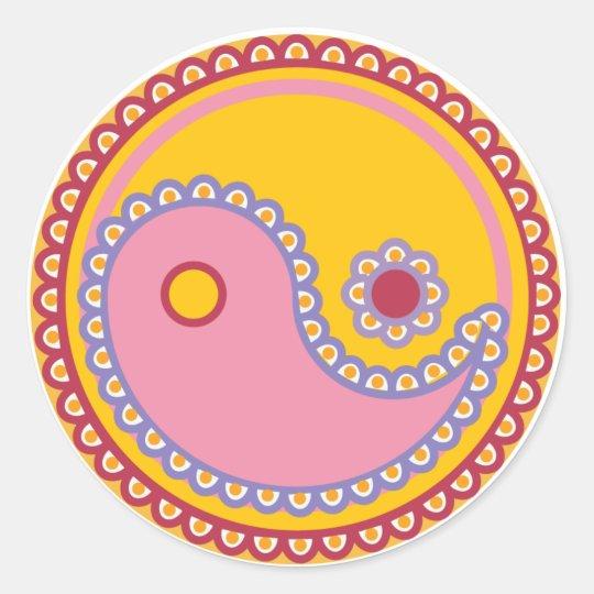 Yoga Speak Baby : Paisley Yin-Yang Symbol Classic Round Sticker