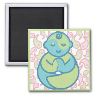 Yoga Speak Baby : Paisley Yoga Baby 2 Inch Square Magnet