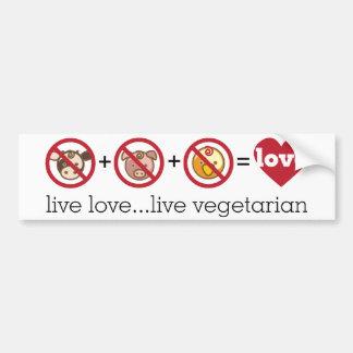 Yoga Speak : Live Love...Live Vegetarian Car Bumper Sticker