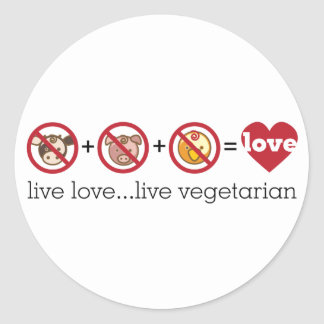 Yoga Speak : Live Love...Live Vegetarian Round Stickers