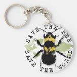 Yoga Speak : Save the Bee...Keychain Basic Round Button Keychain