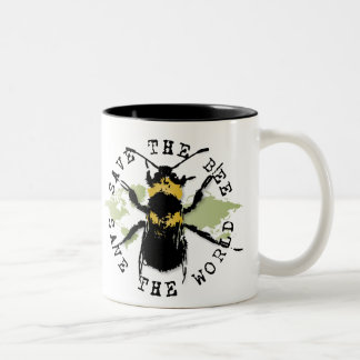 Yoga Speak : Save The Bee...Mug Two-Tone Coffee Mug