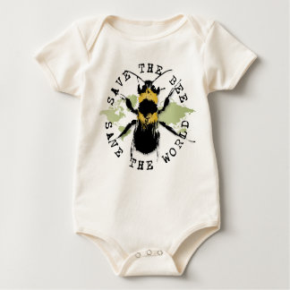 Yoga Speak : Save The Bee ... Save The World! Baby Bodysuit