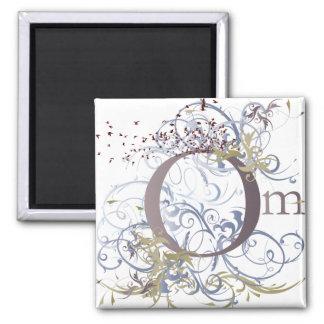 Yoga Speak : Swirling Om Design 2 Inch Square Magnet