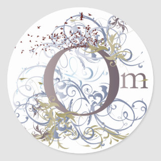 Yoga Speak : Swirling Om Design Classic Round Sticker