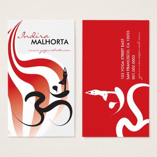 Yoga Spiritual Flame Om Ohm Logo Calligraphy Zen Business Card