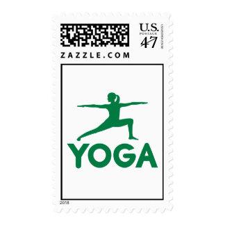 Yoga sports woman postage stamp