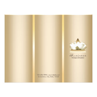 Yoga Studio Gold Lotus Logo Spa Tri-Fold Brochures