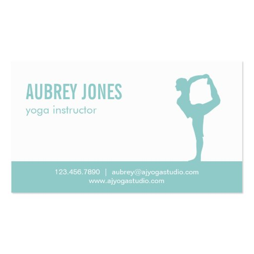 Yoga Studio Modern Business Card - Aqua