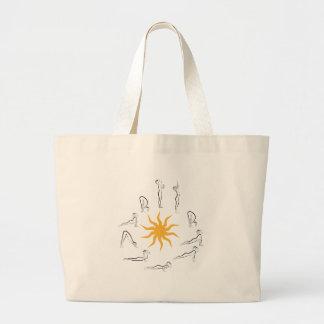 yoga sun salutation large tote bag
