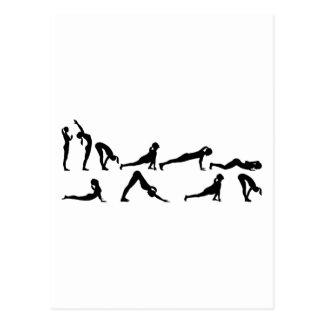 Yoga sun salutation postcard