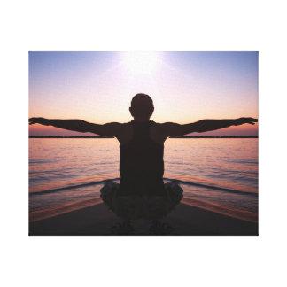 Yoga Sun Salutation Wrapped Canvas Print