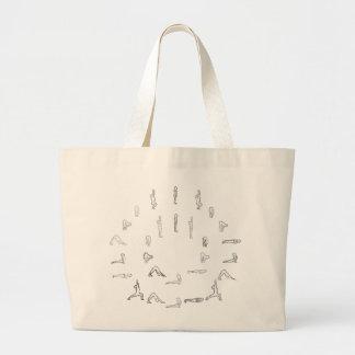 Yoga Sun Salutations Large Tote Bag