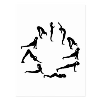 Yoga sun salute postcard