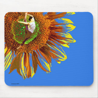 YOGA, SUNFLOWER, FLORAL BRIGHT YOGA POSTURE MOUSE PAD
