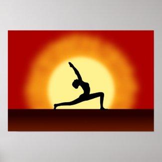 Yoga Sunrise Framed Print print