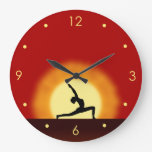 Yoga Sunrise Pose Silhouette Large Round Clock Clock