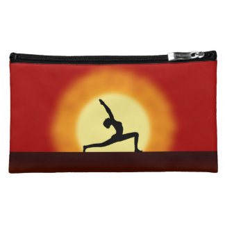 Yoga Sunrise Pose Silhouette Sueded Cosmetic Bags Makeup Bag