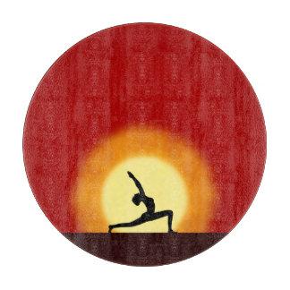 Yoga Sunrise Posing Silhouette Glass Cutting Board