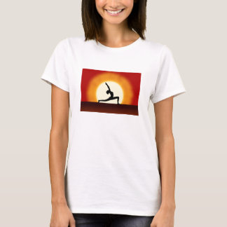 Yoga Sunrise Posing Silhouette Ladies T-Shirts