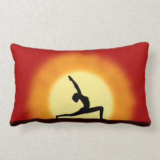 Yoga Sunrise Silhouette Pose Lumbar Throw Pillows