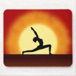 Yoga Sunrise Woman Posing Silhouette Mousepad Mousemats