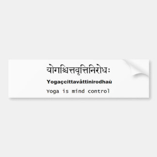 Yoga Sutras of Patanjali : Sanskrit, english, mind Bumper Sticker
