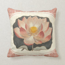 Yoga Symbol Vintage Style Lotus Blossom Throw Pillow