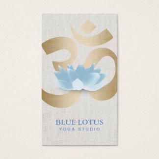 Yoga Teacher Blue Lotus Gold Om Sign Faux Linen Business Card