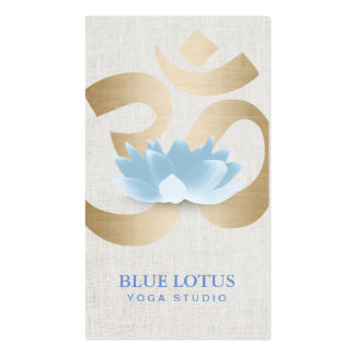 Yoga Teacher Blue Lotus Gold Om Sign Faux Linen Double-Sided Standard Business Cards (Pack Of 100)